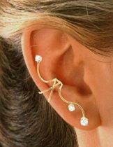 EarCatchers ear cuff met zirkonia – verguld sterling zilver - Double (right/rechts)