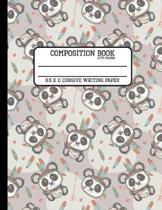 Composition Book Cute Panda 8.5 x 11 Cursive Writing Paper