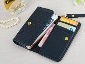 Luxe telefoon hand tasje (M) met gestikt ruit patroon, wallet hoesje met ruiten patroon, rood , merk i12Cover