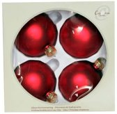 Cosy @ Home Kerstbal glas set 4 rood mat 8cm