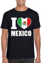 Zwart I love Mexico supporter shirt heren - Mexicaans t-shirt heren S