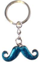 Kamparo Sleutelhanger Snor Met Glitters 5 Cm Blauw