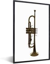 Foto in lijst - Een trompet staat op een witte grond fotolijst zwart 40x60 cm - Poster in lijst (Wanddecoratie woonkamer / slaapkamer)