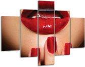 Glas schilderij Vrouw, Lippen | Rood, Bruin | 100x70cm 5Luik | Foto print op Glas |  F007174