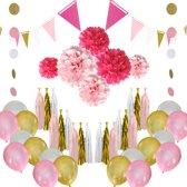 Feest versiering roze goud & wit Verjaardag Versiering - Ballonnen - Pompons - Goud Decoratie - babyshower - Happy Birthday - Verjaardagsfeest - Geboorte versiering - Feestartikelen - Feest Decoratie - Kinderfeest - Prinsessenthema