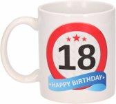 Verjaardag 18 jaar verkeersbord mok / beker