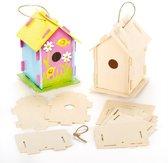 Sets met houten vogelhuisjes - creatieve knutselen voor kinderen om te schilderen en versieren (2 stuks)