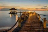 Papermoon Wooded bridge pier between sunset Vlies Fotobehang 350x260cm 7-Banen