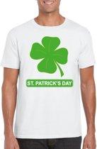 St. Patricksday klavertje t-shirt wit heren - St Patrick's day kleding S