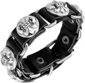 Amanto Armband Djorel Black - Heren - Leer - Stud Fleur De Lis - 20 mm - 22 cm