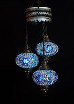 Oosterse lamp blauw 3 bollen mozaiek kroonluchter