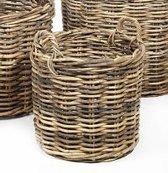 Maison Péderrey - Rieten mand met handvat - Plantenbak - Riet - Beige - Naturel - Grijs - D 50cm / Hoog 48cm -