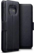 Hoesje voor Samsung Galaxy S10E, MobyDefend slim-fit echt leren bookcase, Zwart