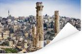 Kolommen van de oude Tempel van Hercules in Amman Poster 90x60 cm - Foto print op Poster (wanddecoratie woonkamer / slaapkamer)