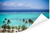 Palmen op de kust van Moorea in Frans-Polynesië Poster 180x120 cm - Foto print op Poster (wanddecoratie woonkamer / slaapkamer) XXL / Groot formaat!