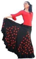 Spaanse Flamenco Rok - Zwart met Rode Stippen - Maat S - Volwassenen - Verkleed Rok