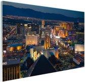 Luchtfoto verlicht stadsbeeld Las Vegas Glas 60x40 cm - Foto print op Glas (Plexiglas wanddecoratie)