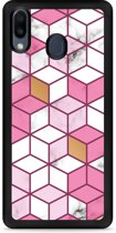Galaxy M20 Softcase hoesje Pink-gold-white Marble