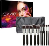 10-delige make-up kwasten set met hoes - kabuki kwastenset zwart zilver