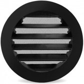 Ventilatieshop Rond buitenluchtrooster - Ø 125mm - aluminium - fijnmazig muggengaas - zwart