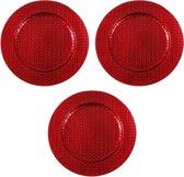 3x Ronde rode kaarsenplateaus/kaarsenborden met vlechtpatroon 33 cm - onderborden / kaarsenborden / onderzet borden voor kaarsen
