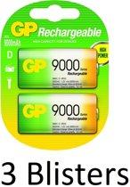 6 Stuks (3 Blisters a 2 st) GP Batteries D Rechargeable battery Nikkel-Metaalhydride (NiMH)