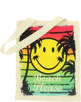 Blueprint Collections Shopper Smiley 33x15 Cm Wit