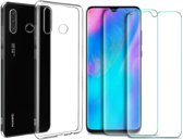 Huawei P30 Lite Hoesje Transparant TPU Siliconen Soft Case + 2X Tempered Glass Screenprotector