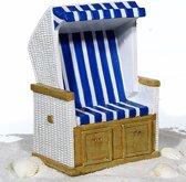 Strandstoel spaarpot blauw/wit keramiek