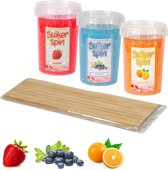 Suikerspinsuiker fruitmix 2, 3 x pot á 450 gram incl. ± 100 stokjes