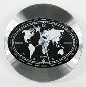 Goed YE  moderne índustrieel Aluminium 30cm wereldkaart zwart