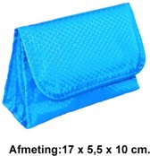 Rojafit Make-up tasje met Spiegel - Waffle - Blauw (Afmeting 17 x 5,5 x 10 cm.)