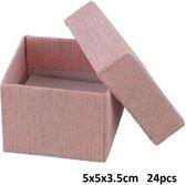 Giftbox voor Ringen - Sieradendoosje - 5x5x3,5 cm - Set van 24 Stuks - Roze - Dielay