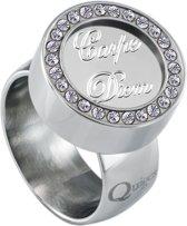 Quiges RVS Schroefsysteem Ring met Zirkonia Zilverkleurig Glans 16mm met Verwisselbare Carpe Diem 12mm Mini Munt