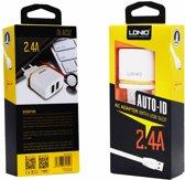 LDNIO AC52 Lader 2 poorten Oplader 2.4A met 1 Meter Micro USB Kabel geschikt voor o.a LG K4 K7 K8 K10 K11 2017