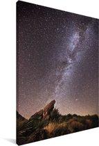 De melkweg boven het Nationaal park Sierra Nevada in Noord Amerika Canvas 20x30 cm - klein - Foto print op Canvas schilderij (Wanddecoratie woonkamer / slaapkamer)