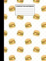 Composition Notebook: Cheeseburger Pattern Wide Ruled Lined Note Book - Retroy Style Hamburger Journal with Lines for Kids, Teens, Students