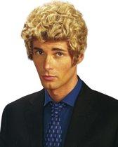 """""""Blond gekrulde pruik voor heren  - Verkleedpruik - One size"""""""