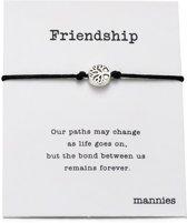 Mannies vriendschapsarmband - 2 stuks - Vriendschaps armband met boodschap! Één voor jou, één voor je vriend(in)! - Meerdere kleuren - Gratis verzending - Vriendschap - Zwart
