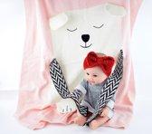4 Prachtige Baby Hoofdbandjes/Oorwarmertjes met Strikje van zacht wol,Rood-Grijs-Roze-Wit-cadeau-kraamkado met Gratis SUPERLIEF Bijthandschoentje Roze Koetje
