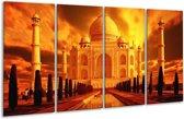 Glasschilderij Taj Mahal | Oranje, Geel, Zwart | 160x80cm 4Luik | Foto print op Glas |  F002399