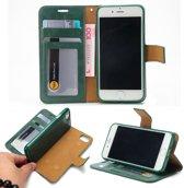 Leren Wallet case - iPhone 7/8 - Magnetisch uitneembaar - Groen - Crazy Horse