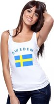 Witte dames tanktop met vlag van Zweden S