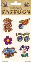 Jaren 60 hippie tattoos 6 stuks
