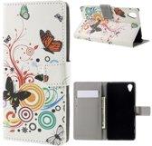 Butterfly wit Print wallet hoesje Sony Xperia X