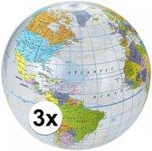 3x Opblaasbare strandbal wereldbol