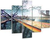 Glasschilderij Abstract | Geel, Grijs, Blauw | 100x70cm 5Luik | Foto print op Glas |  F001720