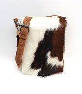 Koeienhuid schoudertasje bruin/ 3 kleurig Van Fiel