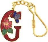 Behave® Sleutelhanger rood emaille letter G 4cm