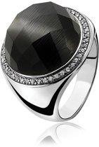Zinzi - Zilveren Ring - Zwarte Cateye - Zirkonia - Maat 58 (ZIR802-58)